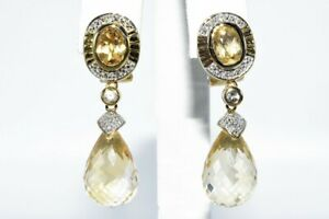 25.67CT NATURAL GOLDEN YELLOW CITRINE, TOPAZ & DIAMOND DANGLE EARRINGS SILVER