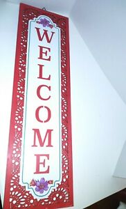 """Pioneer Woman Red Vertical Wooden Welcome Sign Porch or Home New 25"""" X 7.5"""""""