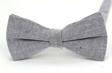 Grey Bow Tie, Grey Mans Cotton Pre-Tied Bow Tie