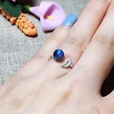 Women Fashion Super Beautiful Natural Blue Moon Stone Ring  925 Sterling Silver