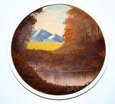 Original Vintage 1977 Oil Painting ceramic plate Mountain Lake Landscape signed