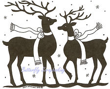 Christmas Reindeer Pair, Winter Wood Mounted Rubber Stamp NORTHWOODS- NEW, P8755