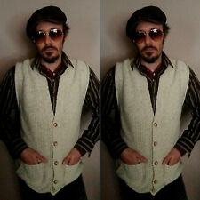 Vintage 1970/80's Men's Cream Knitted Waistcoat with Pockets. Size L.