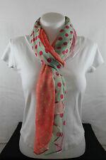 Echarpe, chèche, foulard, étole, rose/orange/vert pastel à pois