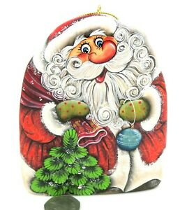 Santa Father Christmas Tree Decoration Red coat Russian HAND PAINTED FIGURE GIFT