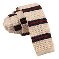 DQT Knit Knitted Thin Stripe Cream with Burgundy Navy Casual Mens Skinny Tie