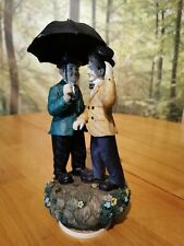 Vintage musical Laurel And Hardy Figurine, singing in the rain