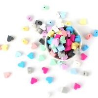 50Pcs Wholesale Heart Teether Silicone Chew Safe Beads DIY Teething Toy BPA Free