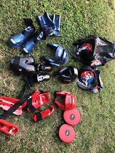 ProForce Lightning Martial Arts Sparring Gear Set Head Foot Hand Pads Tang Bag