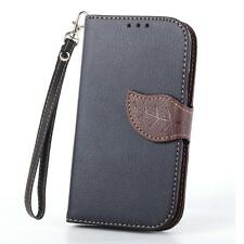For Samsung S3 S4 Magnetic Flip Stand Wallet Leather Case Cover With Lanyard  C