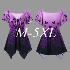 Womens Short Sleeve T-Shirt Butterfly Asymmetric Tunic Blouse Plus Size M-5XL