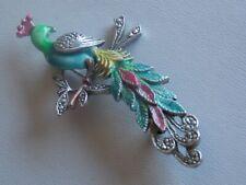 Wonderful Vintage Enamel & Marcasite Peacock Brooch