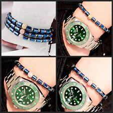 Fashion Clear Zircon Balls Blue Hematite Copper Balls Adjust Women Men Bracelets