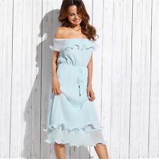 AU SELLER - summer off shoulder powder blue ruffle pleated party causal dress