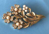 Vintage MCM Brooch Textured Gold Tone Rhinestones Pearl Beads Floral Pin