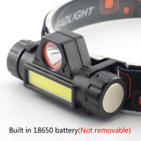 COB LED Headlamp USB Rechargeable Mini Headlight head light Torch Flashlight Lw