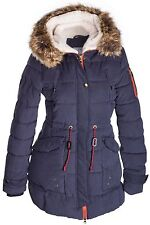 DAMEN WINTER PARKA MANTEL JACKE FELL 2 in 1 KAPUZE STEPP LANG PELZ ALASKA