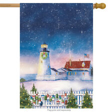 "Christmas Lighthouse House Flag Nautical Holiday Scene 28"" x 40"""