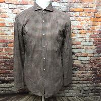 HUGO BOSS MEN'S PLAID COTTON LONG SLEEVE SLIM FIT DRESS SHIRT SIZE 15 1/2 A14-21