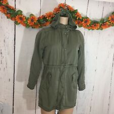 Girl's SZ XL (12-13) GAP KIDS Army Olive Green Hooded Military Style Long Jacket