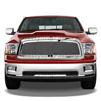 Chrome Packaged Mesh Grille+Shell Replacement Grille for 09-12 Dodge Ram 1500