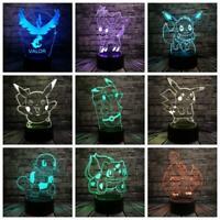 Pokemon Go Action Figure 3D RGB Lamp Pikachu Eevee Turtle Bird Fire Dragon