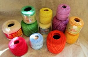 10 SPOOLS J&P COATS  CROCHET THREAD  100% COTTON EX.COND.GREAT COLORS - NEW-#1