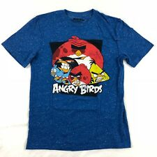 Angry Birds T Shirt Graphic Tee Short Sleeve Blue Casual Unisex Size Small