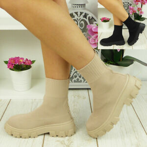 Sock Ankle Boots Shoes Ladies Winter Mid Calf New Casual Comfy Chunky Heel Size