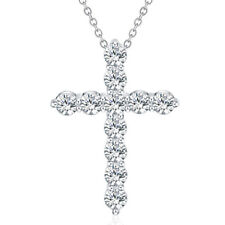 925 sterling Silver crystal Necklace fashion cute women Lady Cross wedding