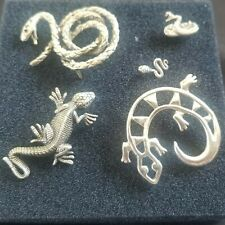 Lot Of 5 Pewter And Silver Brooches, Snakes, Lizard, Gecko