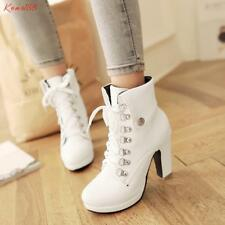 british classic Womens Cuffed Block high Heels Lace Up casual ankle Boots