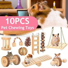 10Pcs Wooden Rabbit Hamster Guinea Pig Bite Hammock Toys Hanging Pet Molar Set