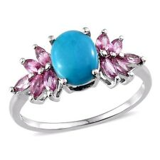 Sleeping Beauty Turquoise with Pink Sapphire ring sz7  st.silver w/platinum NWT