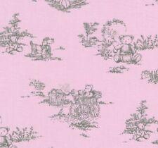 drap housse en coton litbébé 60 x 120 coins élastiqués dessin oursons fond rose