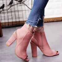 Womens Ladies Platform  Open Toe Ankle Boots High Block Heel Sandals Shoes Size