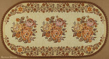 """40"""" DECORATIVE TAPESTRY TABLE RUNNER Triple Rose Bouquet EUROPEAN FLORAL ACCENT"""