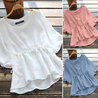 Women Round Neck Cotton Shirt Tops Irregular Hem Plain Loose Blouse T-Shirt Tee