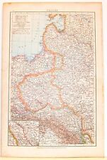 Carta geografica antica POLONIA POLAND POLSKA 1880 Old antique map
