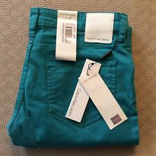 Calvin Klein Low Rise SKINNY Jeans - Waist 30 Length 34 Teal Green Tags