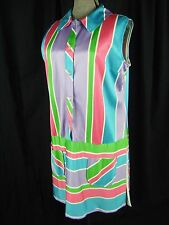 Vtg 70s Lilac/Green/White Stripes Long Sleeveless Tunic-Bust 44/L