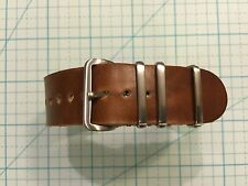 22mm Horween Cavalier Chicago Tan Leather mil-style handmade Watch Strap Band