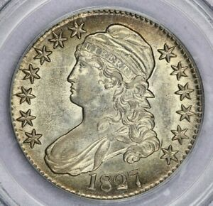 1827 Capped Bust Half Dollar PCGS AU55 Fully lusterous, what an original beauty!