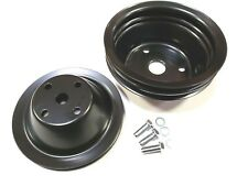 Sb Chevy 350 Long Pump Black Steel Pulley Kit 1 Groove Upper 2 Groove Lower Sbc