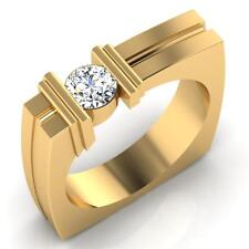Real 0.47 ct Diamond Mens Rings Engagement Rings 18K Yellow Gold Ring Size W R T
