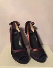 "D&G Black Silk Evening Elegant Open Toe  Pumps S 38 Heel  4.75"""