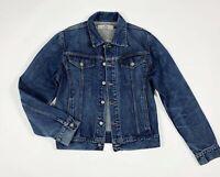 Unlimited jeans jacket denim giacca uomo usato L used giubbino blu track T6116