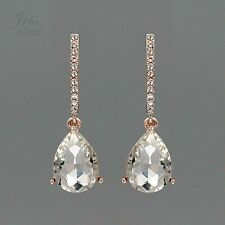ROSE GOLD Plated Clear Crystal Rhinestone Wedding Drop Dangle Earrings 02184 New