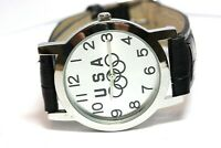 USA Olympics silver stainless steal wrist watch 6.5-8 inch leather black band