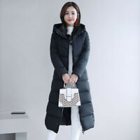 Winter Women's Down Jacket Hooded Quilted Warm Knee Length Coat Puffer Outerwear